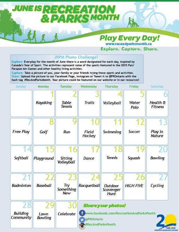 June is Rec Month Photo Challenge calendar