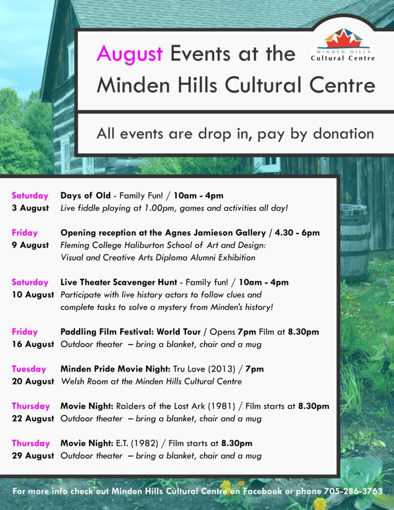 Poster of the August Events at the Cultural Centre