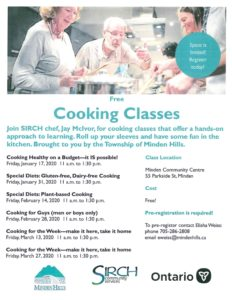 Seniors programming Cooking Classes Information Poster