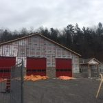 Minden Hills Fire Hall under construction along Highway 35