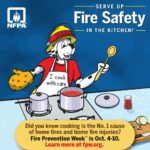 Poster for Fire Prevention Week. Sparky the Fire Dog in the kitchen.