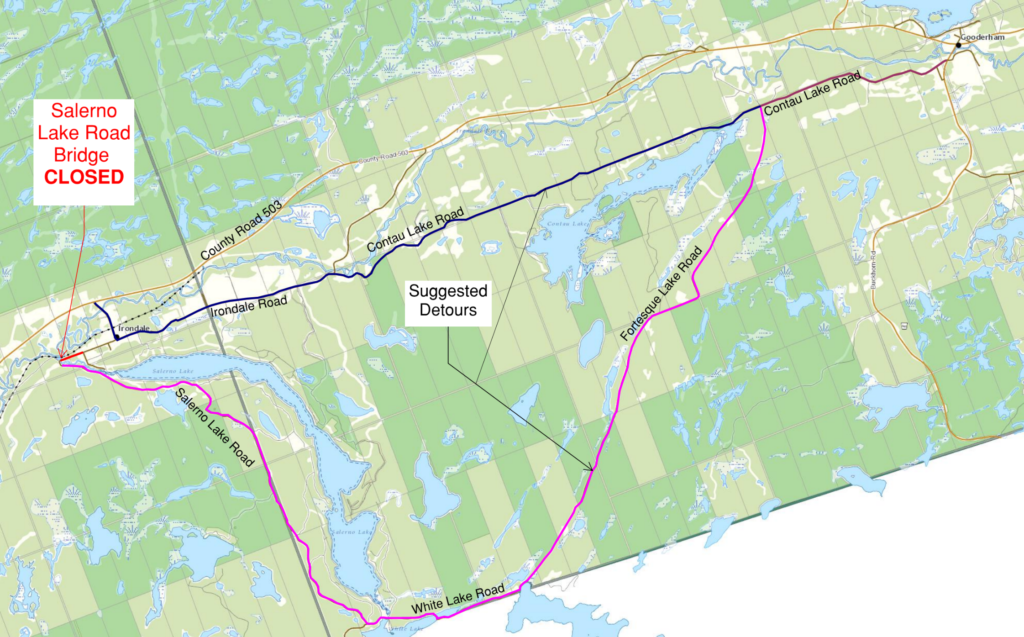 map showing the Salerno Lake Road Bridge closure and alternate routes on White Lake Road, Fortesque Lake Road and Contau Lake Road.