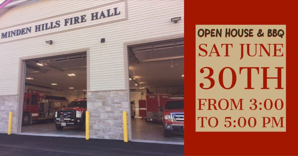 Minden Hills Fire Hall Open House Saturday June 30 from 3 to 5 PM