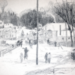 Sketch of Downtown Minden by Andre Lapine c1930s